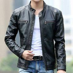 Men's cafe racer leather jacket
