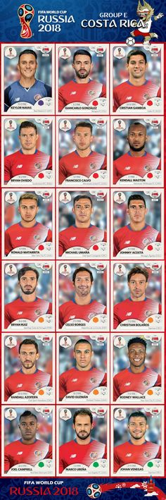 Costa Rica - Russia 2018 Paninni line up Uefa Football, Football 2018, Best Football Team, Football Cards, World Cup Russia 2018, World Cup 2014, Fifa World Cup, World Cup 2018 Teams, Wold Cup