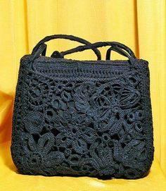 Irish Crochet Purse In Black