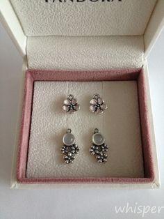 Pandora cherry blossom flower and moonstone earrings.