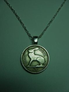 Ireland 3 Pence Hare Rabbit Vintage Coin Pendant Chain by roxcraft