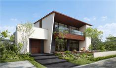 House Architecture Styles, Japanese Architecture, Facade Architecture, Duplex House Design, Modern House Design, House Elevation, Front Elevation Designs, Japanese Modern House, Cute House