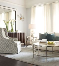 Note the pattern piece for interest. Just the graphic idea not the actual fabric or chair.k Haven Josh Darbin Living Room | Bernhardt