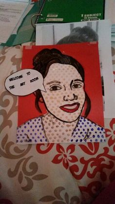 Ms aicher art class. Roy Lichtenstein portrait with text.