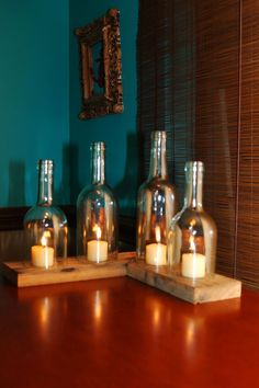 30 creative diy ideas for rustic tree branch chandeliers for How to make candle holders out of wine bottles