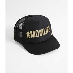 Mother Trucker Mom Life Trucker Hat - Black ($25) ❤ liked on Polyvore featuring accessories, hats, black, graphic snapback hats, graphic hats, trucker hats, snap back hats and snapback hats