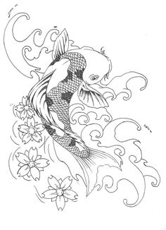 Koi Tattoo Designs for Women | koi tattoo - lineart by Shayla-Lunatic