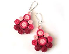 Items similar to Coral Flower Clusters Dangle Earrings - Handmade Eco friendly Paper Quilling Jewelry on Etsy Quiling Earings, Paper Quilling Earrings, Paper Quilling Designs, Quilling Craft, Diy Earrings Dangle, Bar Stud Earrings, Silver Drop Earrings, Earrings Handmade, Filigree Earrings