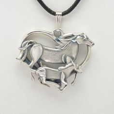 """Sterling Silver Mare and Colt Pendant w/ 18"""" Sterling Chain by Donna Pizarro fr Animal Whimsey Collection of Fine Horse Jewelry"""