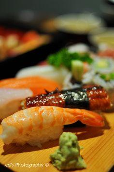 Nigiri Sushi: ebi (prawn), unagi (eel), salmon, squid, octopus, snapper, tuna