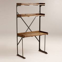 Wood and Metal Shelved Asher Desk - perfect combo unit to be functional and stylish!