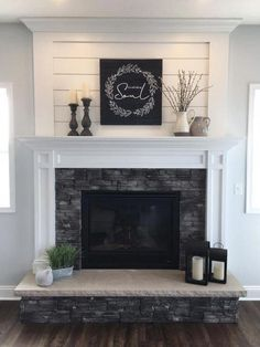 This collection of fireplace mantels is full of warm cozy decor inspiration and ideas for even the chilliest days. This collection of fireplace mantels is full of warm cozy decor inspiration and ideas for even the chilliest days. Living Room Remodel, Home Living Room, Living Room Designs, Cottage Living, Country Living, Fireplace Redo, Fireplace Design, Fireplace Ideas, Fireplace Makeovers
