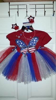 4th of July outfit with homemade tutu- shirt from the children's place, and headband from the  $ store