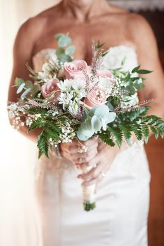 Bridal Bouquet with Pink Roses and Greenery