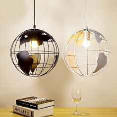 Modern pendant world map globe hanging lamp ceiling light chandelier retro globe ceiling light pendant with map metal shade home office decor lamp gumiabroncs Images
