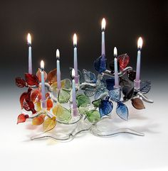 Tree of Life Menorah, Rainbow Leaves: Bandhu Scott Dunham: Art Glass Menorah | Artful Home