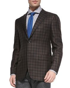Two-Button Check Blazer, Brown/Black