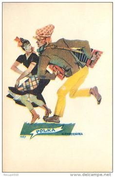 Signed Artist Postcard Man Woman Dancing the Polka, Accordion 1929 Illustration, Chess, Folklore, Dancing, Movie Posters, Collection, Woman, Amp, Ballroom Dancing