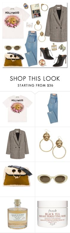 """Tshit look"" by mjangirashvili ❤ liked on Polyvore featuring Gucci, Jakke, Vanessa Mooney, Francesco Russo, J.W. Anderson, Elizabeth and James, Library of Flowers and Fresh"