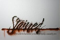 Amity Parks | 'Stained Two' Poem by Izumi Shikibu Ruling and broad pen lettering, ink on paper.