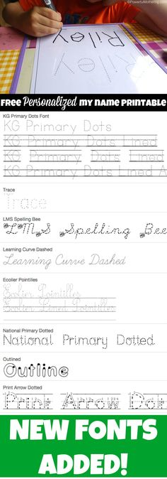 Personalized my name tracing sheet. now with new fonts!