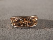 Vintage  Sterling Silver  Fancy  5 Large  Trillion Golden Citrine  Wedding  Band  Ring 6