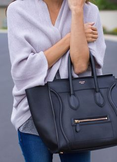 lilac sweater + black celine.