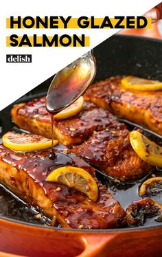 Garlic Glazed Salmon Add this Honey Glazed Salmon to your must-make list ASAP. Get the recipe at .Add this Honey Glazed Salmon to your must-make list ASAP. Get the recipe at . Salmon Dishes, Seafood Dishes, Seafood Recipes, Cooking Recipes, Healthy Recipes, Honey Recipes, Salmon Meals, Salmin Recipes, Best Fish Recipes