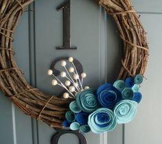 Grapevine Wreath Felt Handmade Door Decoration 12in - Blueberry