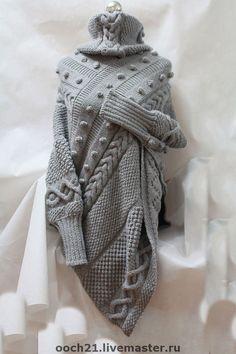 Купить пончо АДЕЛАИДА - пончо, вязаное пончо, теплое пальто, теплое платье, авторская работа