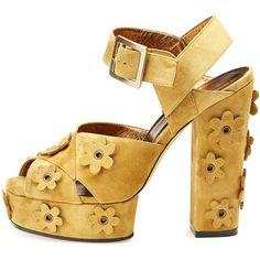 Roger Vivier Floral-Appliqué Suede Platform Sandal ($1,405) ❤ liked on Polyvore featuring shoes, sandals, ankle strap high heel sandals, floral platform sandals, criss-cross sandals, high heel shoes and ankle wrap sandals