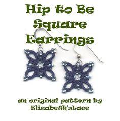 Modèle original de frivolité - Hip pour boucles d'oreilles carrés