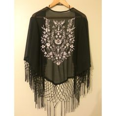 Floral Fringe Kimono Black gauzy kimono with gorgeous floral embroidery on the back. The length and fit match the last photo, though this is obviously a different variation. Never worn! Price is firm  Forever 21 Tops