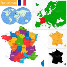 France Map #GraphicRiver Vector map of the French Republic drawn with high detail and accuracy. France is divided into administrative regions which are colored with different bright colors. File divided into layers and sub-layers for easy manipulation. Filetypes: AI, EPS, PDF, JPEG (7000×7000) Colors: RGB color system