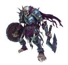 Skeleton Axe and Shield Fighter - Pathfinder PFRPG DND D&D 3.5 5th ed d20 fantasy