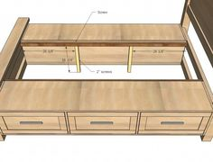 how to build drawers under bed white build a farmhouse storage bed with storage drawers free and easy project and furniture plans how to build bunk beds with drawers how to build twin bed with drawers Bed Frame With Drawers, Platform Bed With Drawers, Bed Frame With Storage, Diy Bed Frame, Bed Platform, Platform Bed Plans, Diy Bedframe With Storage, Storage Bed Queen, Bedroom Storage