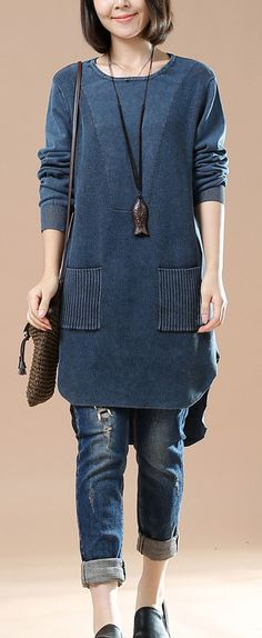 New blue pocket causal sweaters oversized knit blouse