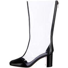 Pre-owned Céline PVC Boots (545 CAD) ❤ liked on Polyvore featuring shoes, boots, black, colorblock boots, black zip boots, zipper boots, black zipper boots and square toe boots