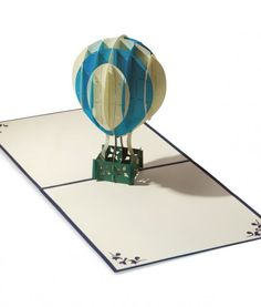 Pop. Delight. Surprise. LovePop's Blue Hot Air Balloon Paper Pop Up Card. #Graduation