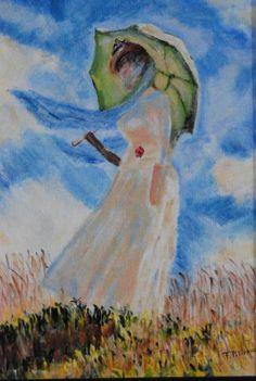 """Saatchi Art Artist Franck Polisano; Painting, """"Femme à l'ombrelle d'après Claude Monet"""" #art"""