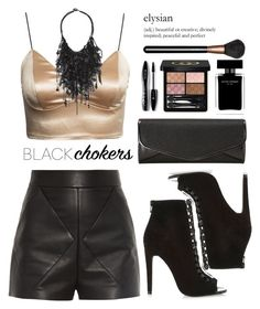 """Black Choker"" by chalsouv ❤ liked on Polyvore featuring Vera Wang, Balenciaga, River Island, J. Furmani, Narciso Rodriguez, Gucci, Lancôme, MAC Cosmetics and blackchokers"