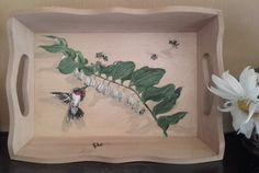 Wooden Tray with Solomon's Seal, Bees and a Hummingbird by PaintWorkStudios on Etsy