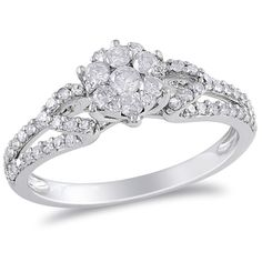 @Overstock - Round white diamond engagement ring10-karat white gold jewelryClick here for ring sizing guidehttp://www.overstock.com/Jewelry-Watches/Miadora-10k-White-Gold-1-2ct-TDW-Diamond-Cluster-Ring-H-I-I2-I3/7260251/product.html?CID=214117 $626.99