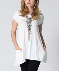 Look what I found on #zulily! Ivory Side-Pocket Swing Tunic #zulilyfinds
