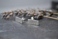 Silver bark textured earrings £18.00