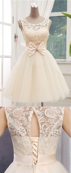 Teen Clothing Homecoming Dress,Lace Homecoming Dresses,Short Prom Gown,Champagne Homecoming Go. Sweet 16 Dresses, Sweet Dress, Short Dresses, Formal Dresses, Elegant Dresses, Simple Dresses, Casual Dresses, Casual Outfits, Champagne Homecoming Dresses