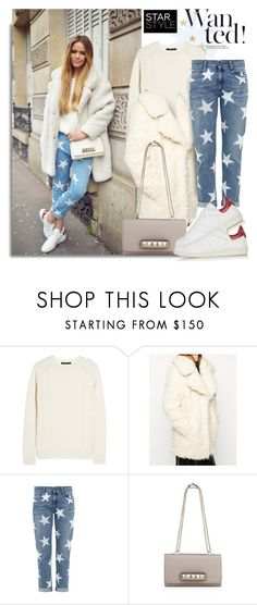 """""""Blogger style:Faux Curly Fur Coat & Sweater& Star-print slim boyfriend Jeans& Sneakers"""" by hamaly ❤ liked on Polyvore featuring Gucci, ASOS, STELLA McCARTNEY, Valentino, Isabel Marant, StreetStyle, blogger, BloggerStyle, topset and winterstyle"""