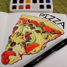 PIZZA 🍕🍕🍕 #foodillustration #pizza #watercolor #sketchbook #illustratedjournal #journalillustration #winsorandnewton #unipin #uniballsigno Display Design, Wall Design, Watercolor Sketchbook, Shop Window Displays, Food Illustrations, Vignettes, Living Room Designs, Pizza, Instagram