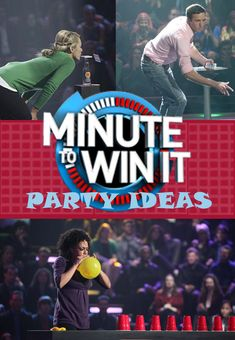 Ideas for hosting a Minute to Win It Party including invitations, prizes and Minute to Win It Challenges using common household items.