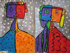 Picasso warm/cool portraits - first grade